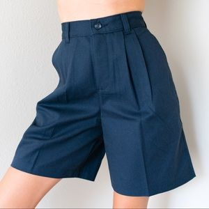 Deadstock Vintage Preppy High Waisted Shorts Navy
